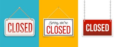 Naklejka Creative vector illustration sign - sorry we are closed background. Art design closed banner on door store template. Signboard with a rope. Abstract concept for businesses, site, shop services element