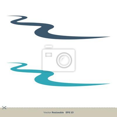 Naklejka Creek Line Vector Logo Template Illustration Design. Vector EPS 10.