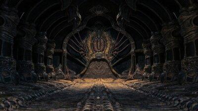 Naklejka Creepy alien underground cave