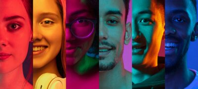 Naklejka Cropped portraits of group of people on multicolored background in neon light. Collage made of 7 models