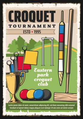Croquet sport game equipment on green court vector poster of sport tournament. Croquet balls, mallet and wickets, champion trophy cup, scoring post and corner flags on play field, sporting competition