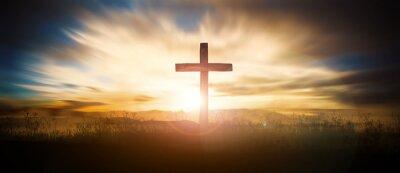 Naklejka Cross at sunset