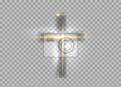 Naklejka cross of light, shiny Cross with golden frame symbol of christianity. Symbol of hope and faith. Vector illustration isolated on transparent background