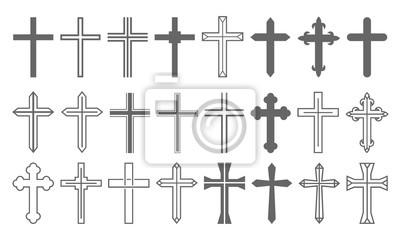 Naklejka Cross Set Christian Icon Collection