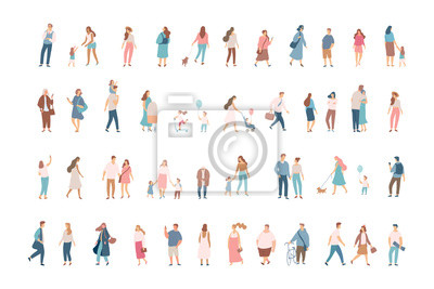 Naklejka Crowd. Different People vector set3. Male and female flat characters isolated on white background.
