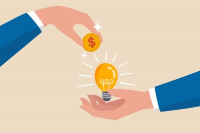 Naklejka Crowd funding, new business or start up company to get money or venture capital to support or sponsor business concept, businessman hand giving money dollar coin to new business idea light bulb.