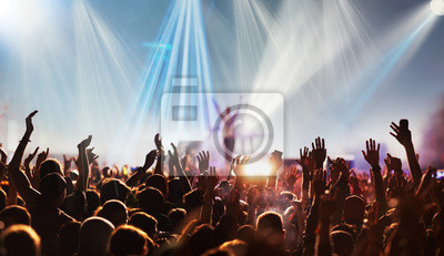 Naklejka crowd with raised hands at concert festival banner