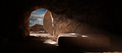 Naklejka Crucifixion and Resurrection. Empty tomb of Jesus with crosses in the background. Easter or Resurrection concept. He is Risen.