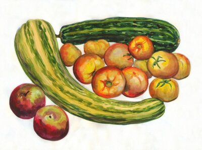 Naklejka Cukinia, pomidory, jabłka. akwarela