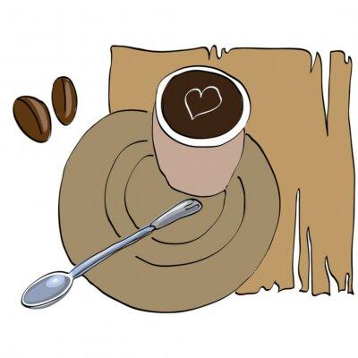 Naklejka Cup Brown kawy na stole