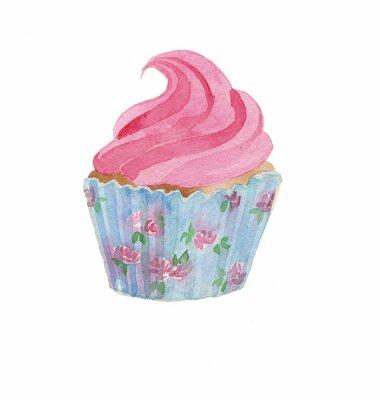 Naklejka cupcake akwarela tapety rysunek ręcznie samodzielnie na białym tle