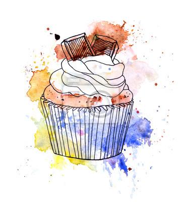 Cupcake ciasto z czekolady. Akwarela