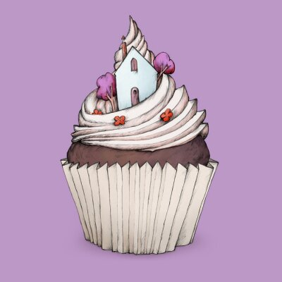 Naklejka Cupcake z domku