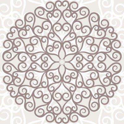 Naklejka Curl wzór tła. Ozdobne koronki okrągły.
