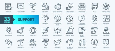 Naklejka Customer Service and Support - Outline Icon Collection. Thin Line Set contains such Icons as Online Help, Helpdesk, Quick Response, Feedback and more. Simple web icons set.