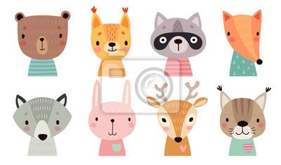 Naklejka Cute animal faces. Hand drawn characters.