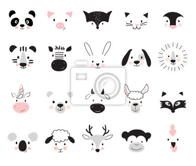 Naklejka Cute animals for kids and baby t-shirts and wear, nursery posters for baby room, greeting cards. Scandinavian style, vector illustration