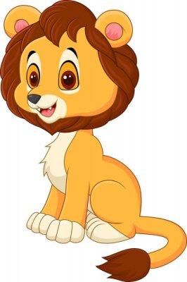 Naklejka Cute baby lew spaceru na białym tle