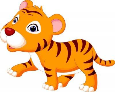 Naklejka Cute baby tiger kreskówki