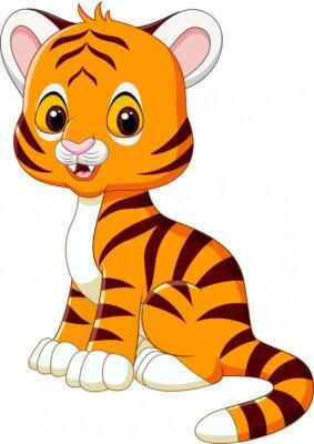 Naklejka Cute baby tiger posiedzenia samodzielnie na białym tle
