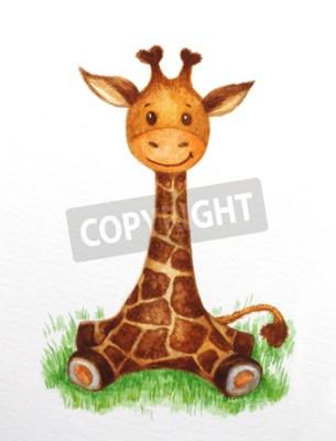 Naklejka Cute baby żyrafa siedzi na trawie, akwarela.