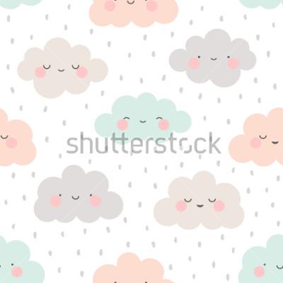 Naklejka Cute Cartoon Face Cloud Seamless Pattern Background with Dot, Vector illustration