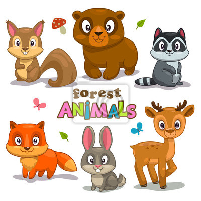 Naklejka cute cartoon forest animals