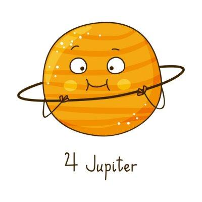 Naklejka Cute cartoon Jupiter samodzielnie na białym tle