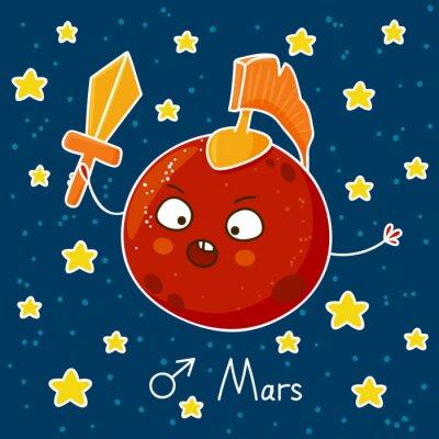 Naklejka Cute cartoon Mars na tle miejsca