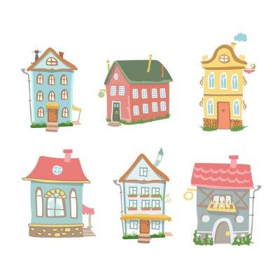 Naklejka Cute cartoon zestaw ręcznie rysowane domów Home Sweet Home na białym
