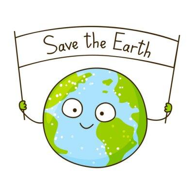 Naklejka Cute cartoon Ziemi odizolowane na białym