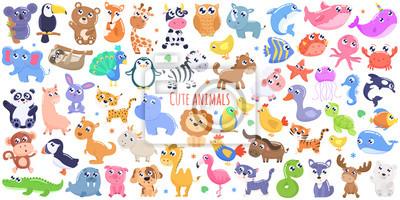 Naklejka Cute cartoon zwierząt. płaska konstrukcja