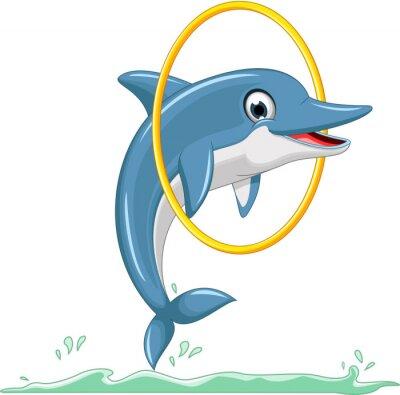 Naklejka cute dolphin cartoon jumping
