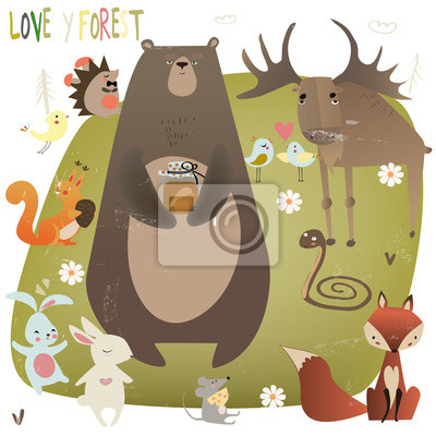 Naklejka cute forest animals