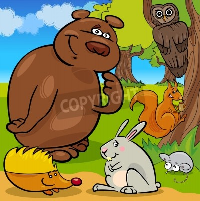 Naklejka Cute Forest Wild Animals