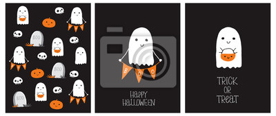 Naklejka Cute Hand Drawn Halloween Cards and Pattern. Little White Ghost on a Black Background. Happy Halloween. Trick or Treat. Sweet Little Pumpkins and White Funny Skulls. Gravestone with Boo inscription.