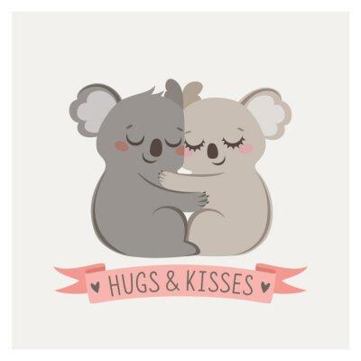 Naklejka Cute karty z loving para koale