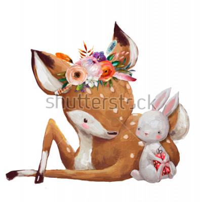 Naklejka cute little hare with little deer