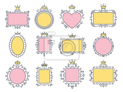 Cute princess frames. Pink mirror frame with princesses crown, majestic hand drawn text borders and royal doodle frame vector set. Collection of maiden boards with victorian diadems and curly elements