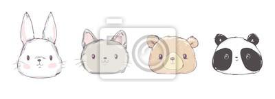 Naklejka Cute Set Animals, Hand Drawn Cute Rabbit, Bear, Panda and Cat, Vector Illustration. Print Design. Cute Set Animals, Hand Drawn Cute Rabbit, Bear, Panda and Cat, Vector Illustration. Print Design.