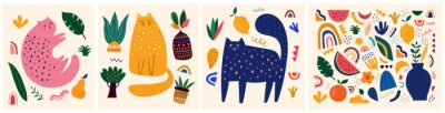 Naklejka Cute spring pattern collection with cat. Decorative abstract horizontal banner with colorful doodles. Hand-drawn modern illustrations with cats, flowers, abstract elements