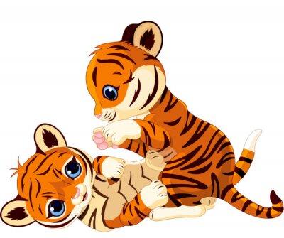 Naklejka Cute zabawy tiger cub