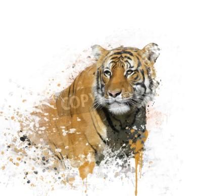 Naklejka Cyfrowe Malarstwo Portret Tygrys