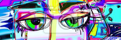 Naklejka cyfrowy plakat abstrakcyjne sztuki z doodle ludzkich oczu