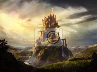 Naklejka cyfrowych ilustracji mediów mieszanką wyobraźni zamkowej twierdzy w fantasy ziemi