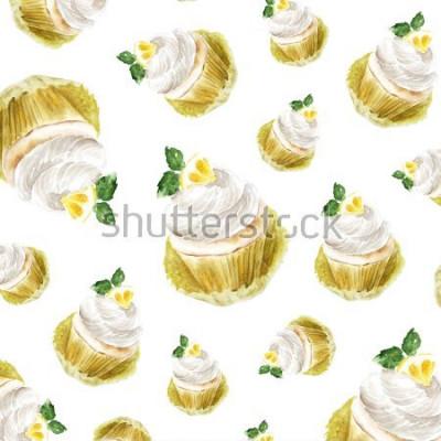 Naklejka Cytryny babeczka z kremową mennicą, akwareli ilustracyjny słodka bułeczka deser. druk artystyczny, szkic mody. piekarnia słodka ciasto owoc cytrusowy