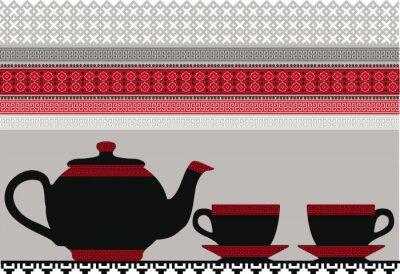 Naklejka czajnik i filiżanki. Ilustracji wektorowych.
