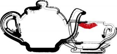 Naklejka Czajnik i ilustracji Cup