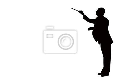 Naklejka czarna sylwetka dyrygenta muzyki klasycznej na białym tle