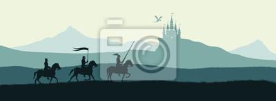 Naklejka Czarna sylwetka rycerzy na tle zamku zaatakowanego przez smoka. Krajobraz fantasy. Średniowieczna panorama